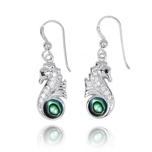 [NEA3245-ABL-BKCZ-WHCZ] Sterling Silver Seahorse Drop Earrings with Abalon shell and CZ