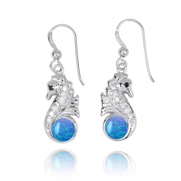 [NEA3245-BLOP-BKCZ-WHCZ] Sterling Silver Seahorse Drop Earrings with Simulated Blue Opal and CZ