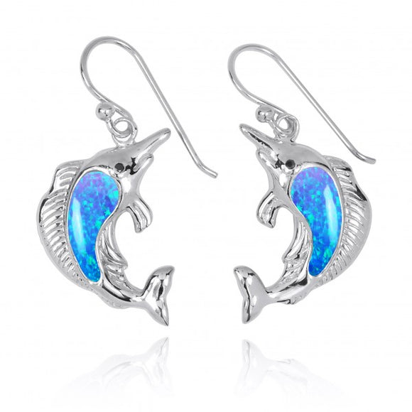 [NEA3248-BLOP-BKCZ] Sterling Silver Swordfish with Simulated Blue Opal and Black CZ French Wire Earrings
