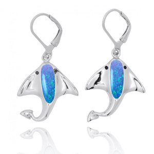 [NEA3317-BLOP-BKSP] Sterling Silver Manta Ray with Simulated Blue Opal and Black Spinel Lever Back Earrings
