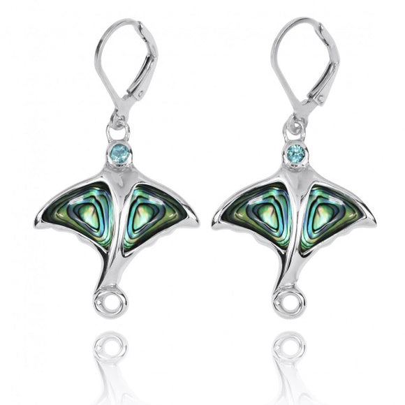 [NEA3318-ABL-SWBLT] Sterling Silver Stingray with Abalon shell and Swiss Blue Topaz Lever Back Earrings