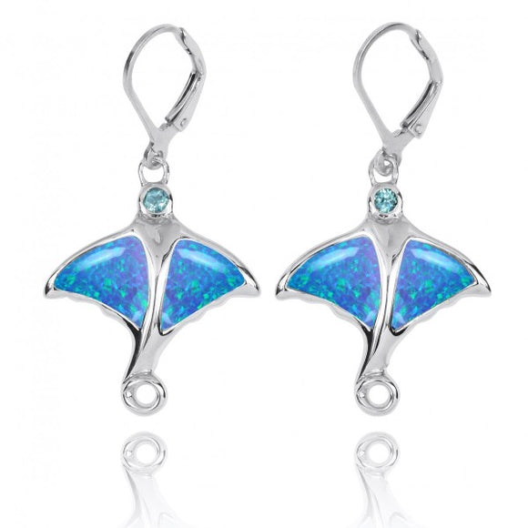 [NEA3318-BLOP-SWBLT] Sterling Silver Stingray with Simulated Blue Opal and Swiss Blue Topaz Lever Back Earrings