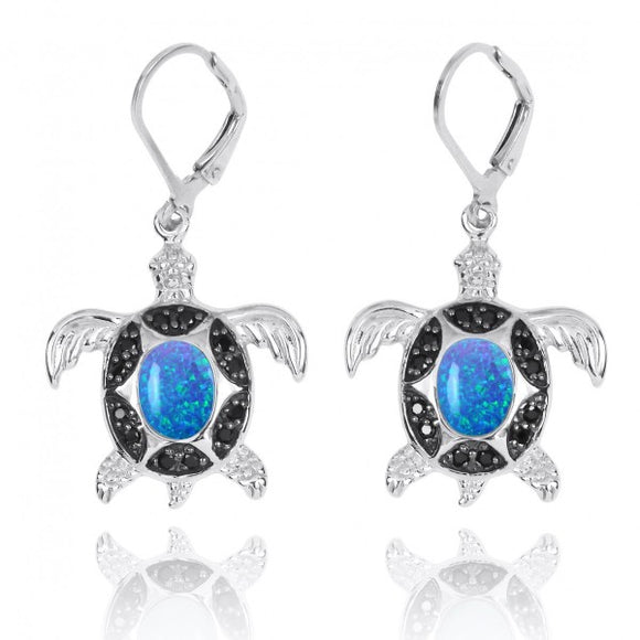 [NEA3321-BLOP-BKSP] Sterling Silver Turtle with Simulated Blue Opal and Black Spinel Lever Back Earrings