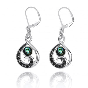 [NEA3322-ABL-BKSP] Black Spinel Wave and Round Abalon shell Sterling Silver Lever Back Earrings