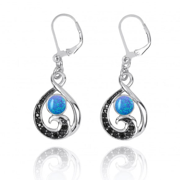 [NEA3322-BLOP-BKSP] Black Spinel Wave and Round Simulated Blue Opal Sterling Silver Lever Back Earrings