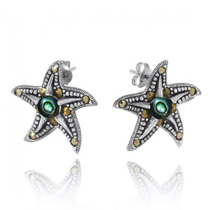 [NES3011-ABL-MRC] Starfish Stud Earrings with Abalon shell and Marcasite
