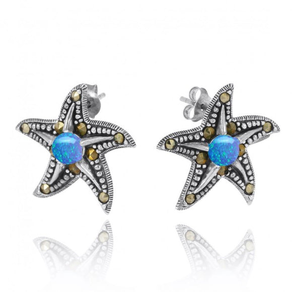[NES3011-BLOP-MRC] Starfish Stud Earrings with Simulated Blue Opal and Marcasite