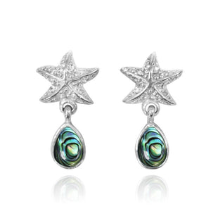 [NES3696-ABL-WHT] Sterling Silver Starfish Stud Earrings with Round Abalon shell and Teardrop White Topaz