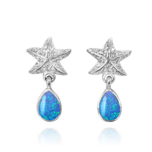 [NES3696-BLOP-WHT] Sterling Silver Starfish Stud Earrings with Round Simulated Blue Opal and Teardrop White Topaz