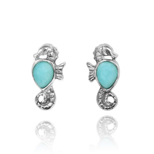 [NES3698-LAR] Sterling Silver Seahorse Stud Earrings with Pear Shape Larimar