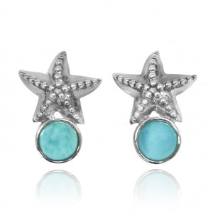 [NES3704-LAR] Sterling Silver Starfish Stud Earrings with Round Larimar