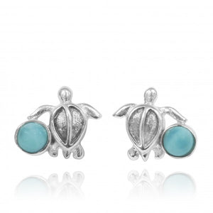 [NES3705-LAR] Sterling Silver Turtle Stud Earrings with Round Larimar