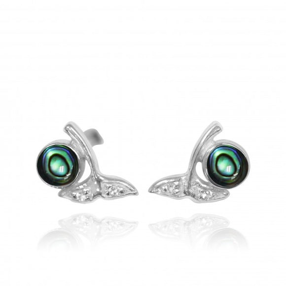 [NES3707-ABL-WHT] Sterling Silver Whale Tail Stud Earrings with Round Abalon shell and White Topaz