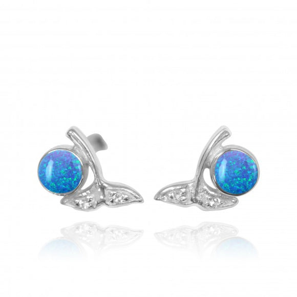 [NES3707-BLOP-WHT] Sterling Silver Whale Tail Stud Earrings with Round Simulated Blue Opal and White Topaz