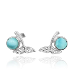 [NES3707-LAR-WHT] Sterling Silver Whale Tail Stud Earrings with Round Larimar and White Topaz