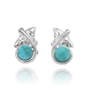 [NES3711-LAR] Sterling Silver Manta Ray Stud Earrings with Round Larimar