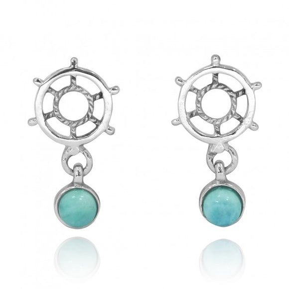 [NES3724-LAR-R] Sterling Silver Ship's Wheel Stud Earrings with Round Larimar
