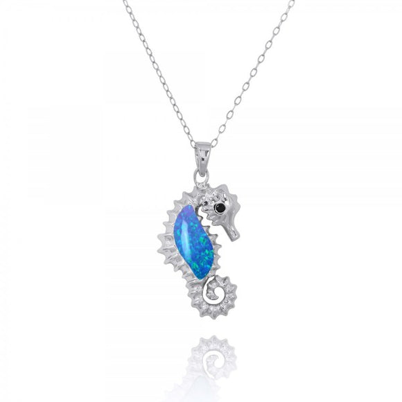 [NP10125-BLOP-BKSP] Sterling Silver Seahorse Pendant with Simulated Blue Opal and Black Spinel