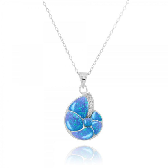 [NP10447-BLOP-WHCZ] Sterling Silver Seashell Pendant with Simulated Blue Opal and White CZ