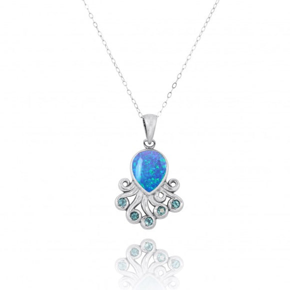 [NP10494-BLOP-SWBLT] Sterling Silver Octopus Pendant with Simulated Blue Opal and Swiss Blue Topaz