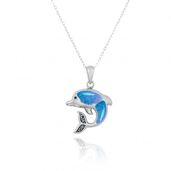 [NP10495-BLOP-WHCZ] Sterling Silver Dolphin Pendant with Simulated Blue Opal and White CZ