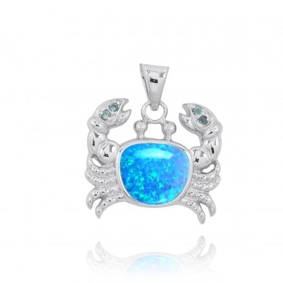 [NP10742-BLOP-LBLT] Sterling Silver Crab Pendant with Simulated Blue Opal and London Blue Topaz