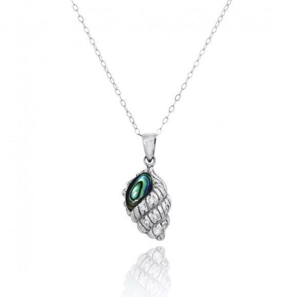 [NP10745-ABL-WHCZ] Conch Shell with Abalon shell and White CZ Sterling Silver Pendant