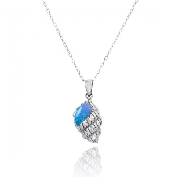 [NP10745-BLOP-WHCZ] Conch Shell with Simulated Blue Opal and White CZ Sterling Silver Pendant