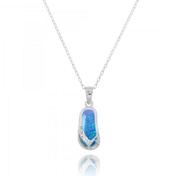 [NP10919-BLOP-CRS] Sterling Silver Sandals with Simulated Blue Opal and Crystal Pendant