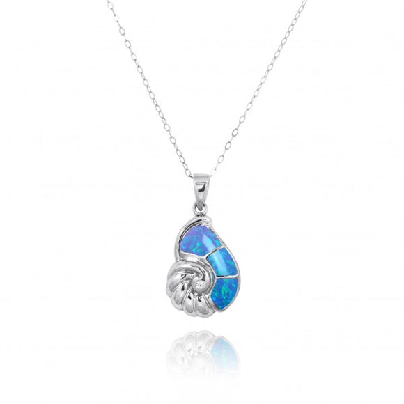 [NP10920-BLOP-WHCZ] Sterling Silver Seashell with Simulated Blue Opal and White CZ Pendant
