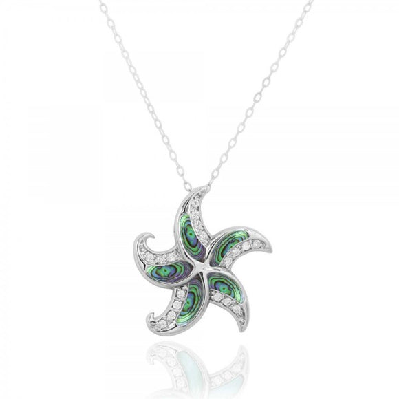 [NP10924-ABL-WHCZ] Sterling Silver Starfish with Abalon shell and CZ Pendant
