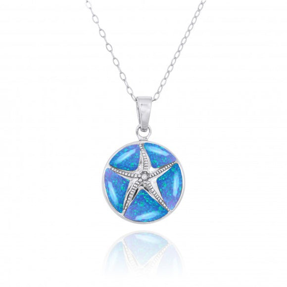 [NP11009-BLOP-CRS] Sterling Silver Starfish with Crystal and Simulated Blue Opal Pendant