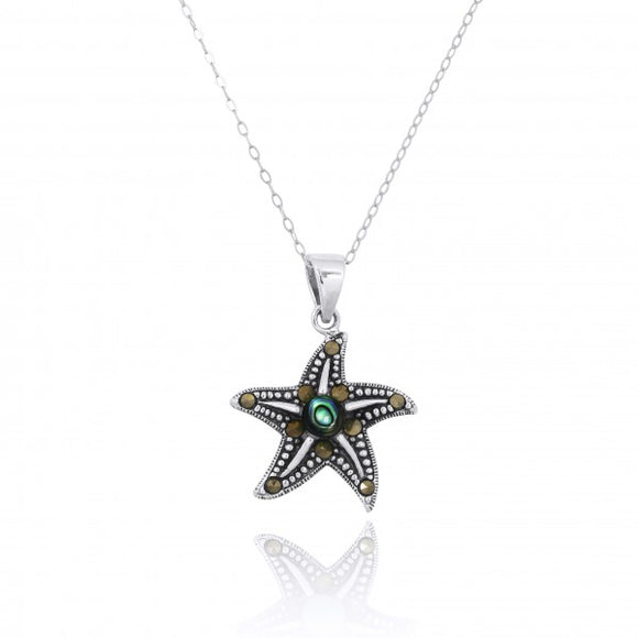 [NP11023-ABL-MRC] Sterling Silver Starfish Pendant with Marcasite and Round Abalon shell