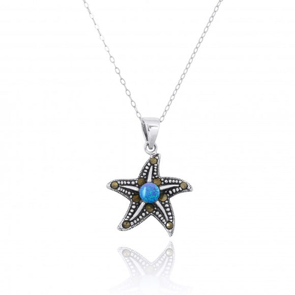 [NP11023-BLOP-MRC] Sterling Silver Starfish Pendant with Marcasite and Round Simulated Blue Opal