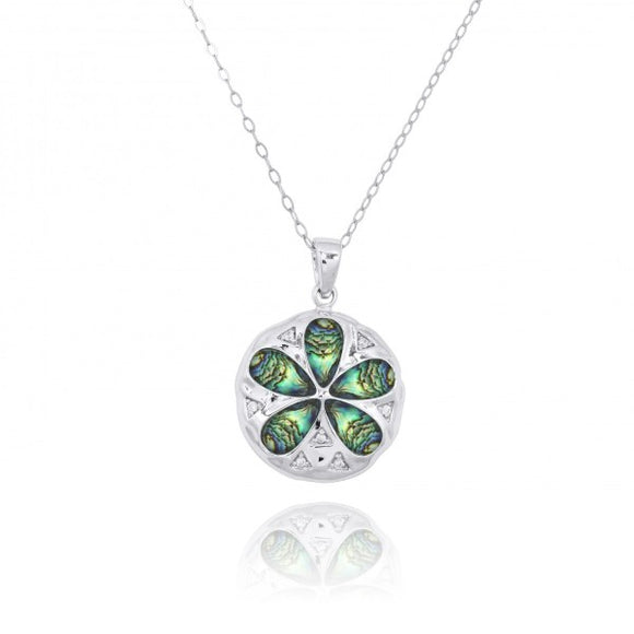 [NP11035-ABL-WHCZ] Sterling Silver Sand Dollar with Abalon shell and CZ Pendant