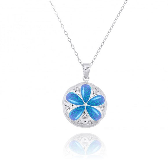 [NP11035-BLOP-WHCZ] Sterling Silver Sand Dollar with Simulated Blue Opal and CZ Pendant