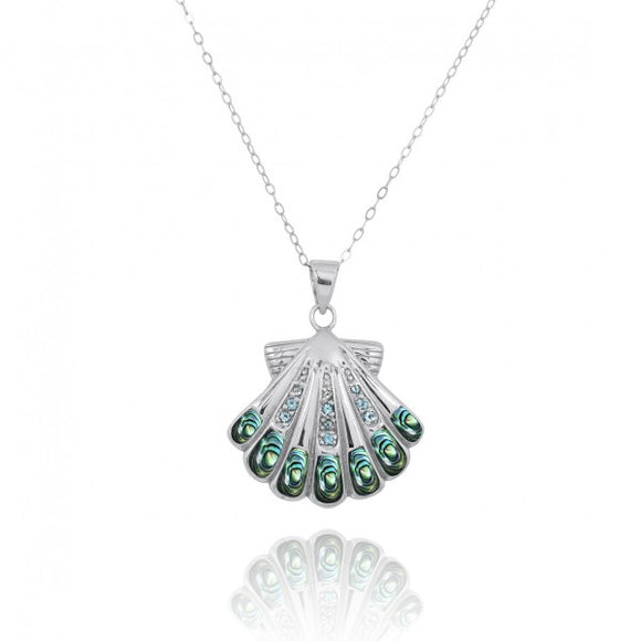 [NP11305-ABL-SWBLT] Sterling Silver Seashell with Swiss Blue Topaz Abalon shell Pendant