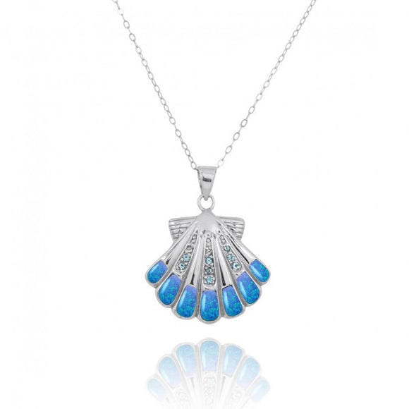 [NP11305-BLOP-SWBLT] Sterling Silver Seashell with Swiss Blue Topaz Simulated Blue Opal Pendant