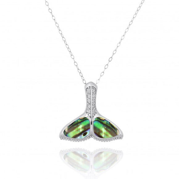 [NP11306-ABL-WHCZ] Sterling Silver Whale Tail with Larmar and White CZ Pendant