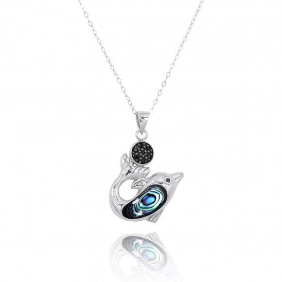 [NP11308-ABL-BKSP] Sterling Silver Dolphin with Abalon shell and Black Spinel Pendant