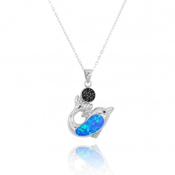 [NP11308-BLOP-BKSP] Sterling Silver Dolphin with Simulated Blue Opal and Black Spinel Pendant