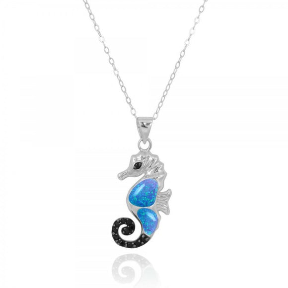 [NP11309-BLOP-BKSP] Sea Horse Pendant with Simulated Blue Opal and Black Spinel