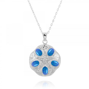 [NP11310-BLOP-WHCZ] Sand Dollar Simulated Blue Opal Pendant