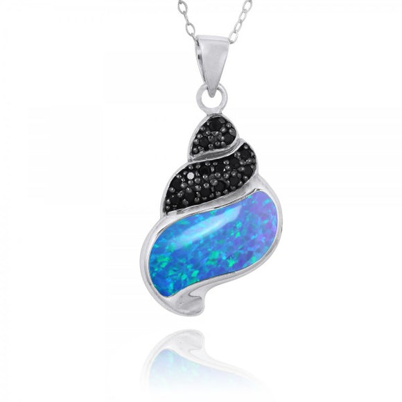 [NP11311-BLOP-BKSP] Sea Shell Pendant with Simulated Blue Opal and Black Spinel