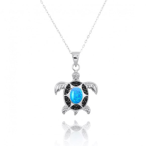 [NP11317-BLOP-BKSP] Sterling Silver Turtle Pendant with Simulated Blue Opal and Black Spinel
