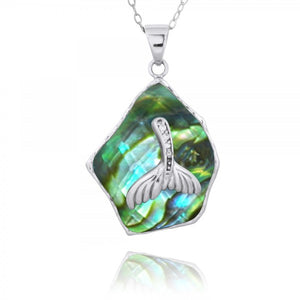 [NP11321-ABL-WHCZ] Abalon shell Pendant with Sterling Silver Whale Tail and White CZ