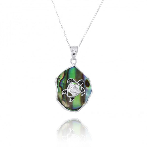 [NP11323-ABL-BKSP] Abalon shell Pendant with Sterling Silver Turtle and Black Spinel