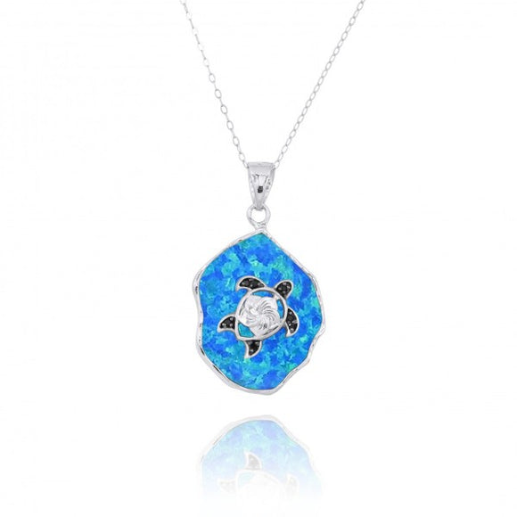 [NP11323-BLOP-BKSP] Simulated Blue Opal Pendant with Sterling Silver Turtle and Black Spinel