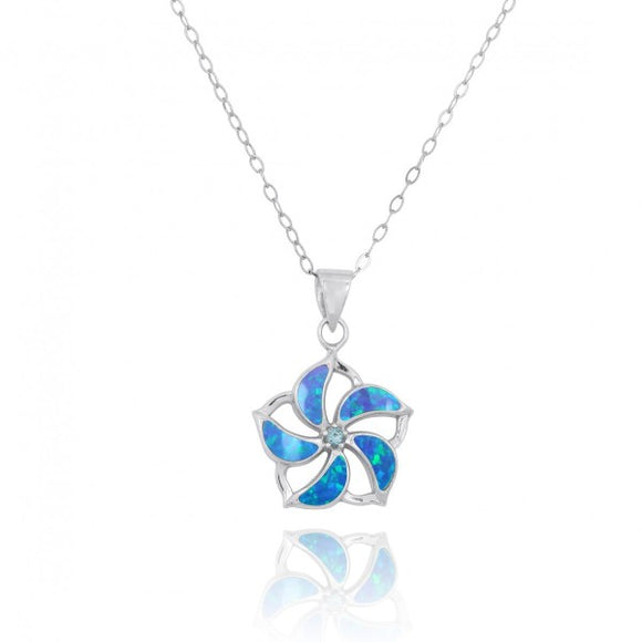 [NP11324-BLOP-SWBLT] Hibiscus Shaped Sterling Silver Pendant with Simulated Blue Opal Starfish and Swiss Blue Topaz