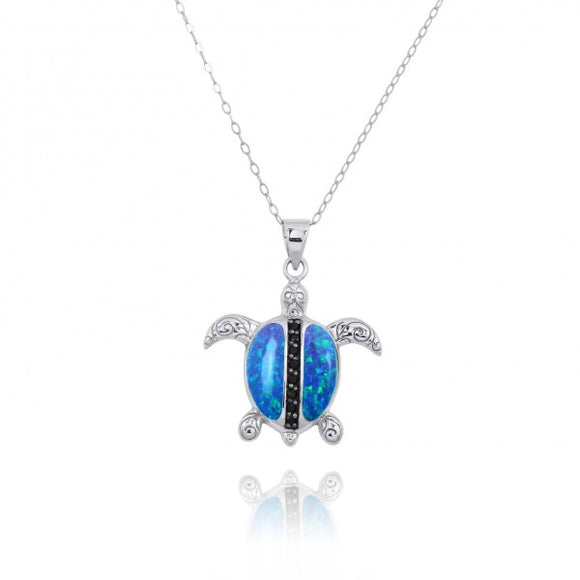 [NP11325-BLOP-BKSP] Sterling Silver Turtle Pendant with Simulated Blue Opal and Black Spinel